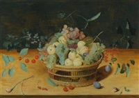 still life of fruit in a basket on a ledge by isaac soreau