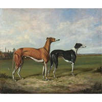 two greyhounds in a landscape by henry calvert