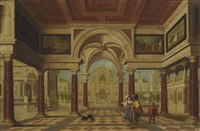 an architectural capriccio with an elegant couple before a courtyard by dirck van delen