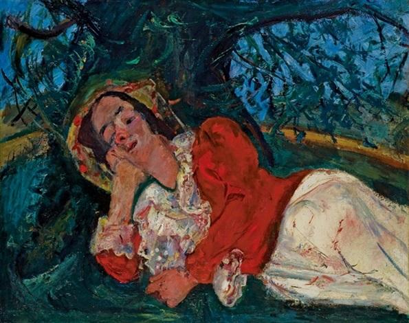 la sieste femme étendue sous un arbre by chaïm soutine