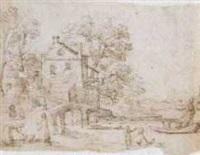 un paysage avec une maison devant une rivière, des personnages au premier plan by francesco (da gubbio) allegrini