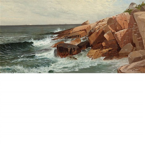 picnic on the rocks, narragansett by alfred thompson bricher