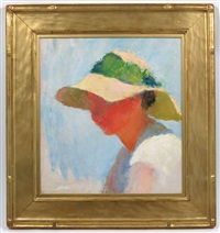 woman wearing a sun bonnet - mudhead by charles webster hawthorne