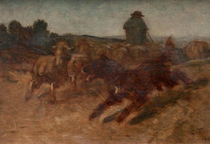 chien de berger et troupeau de moutons by constant troyon