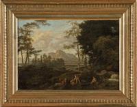 paysage italianisant animé by johannes (jan) glauber