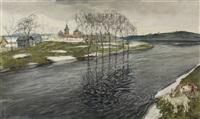 пейзаж с козами by arnold borisovich lakhovsky