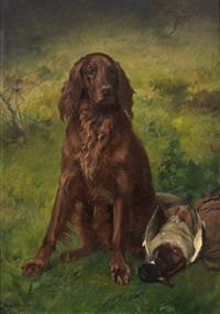 irish setter with a duck by karl kristian uchermann