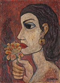 woman with flower by samir rafi