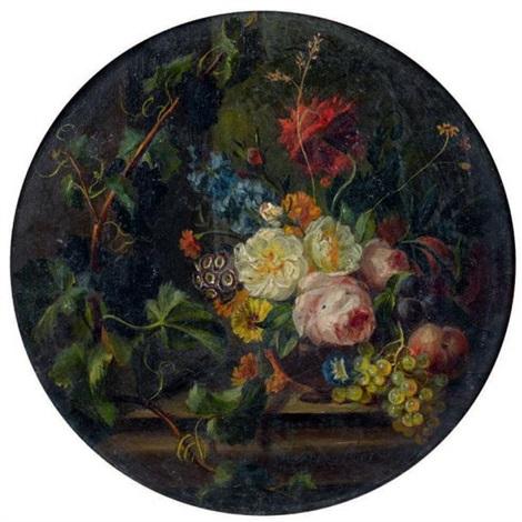 fleurs et fruits sur un entablement by moise jacobber