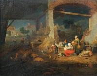 famille de paysans réunie autour d'une table dans une grange et animaux de basse-cour by jacques-albert senave