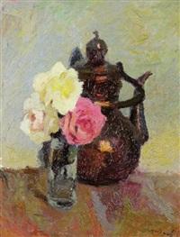 cafetière au bouquet de roses by marcel couchaux