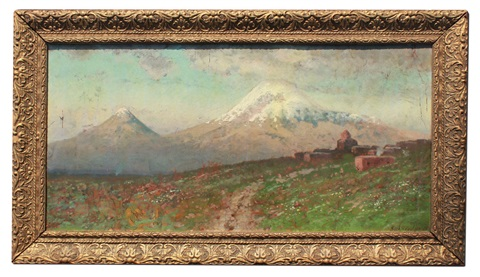 spring in the mountains outside a village by gevork zaharovitch bachindjarian
