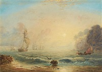 shipping off the coast at dawn by charles bentley