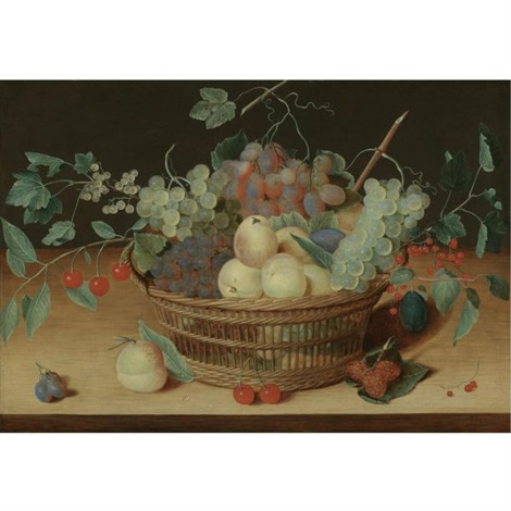 still life with peaches grapes whitecurrants redcurrants cherries and plums in a wicker basket raspberries and other fruit on the wooden ledge below by isaac soreau