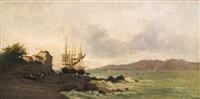 veduta costiera con barche e borgo di pescatori by eugénio amus