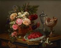 composition aux framboises, au nautile et aux roses by jean-baptiste robie