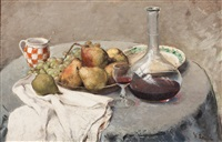 still life with fruit and carafe of wine by frantisek ropek