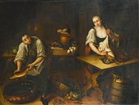 a kitchen interior with a young woman plucking dead birds (+ a kitchen interior with a young woman at a table skinning a rabbit; pair) by austrian school-vienna (17)