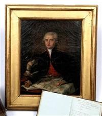 portrait d'antoine etienne tousard en uniforme d'officier du génie, présentant ses cartes by french school (18)