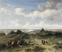 a panoramic river landscape with figures conversing in the foreground by johannes (jan) tavenraat