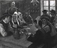 assemblée de bretons dans un intérieur by andré david