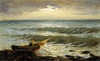 pescatore al tramonto by achille tominetti