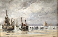 fishing boats offshore by henri arden
