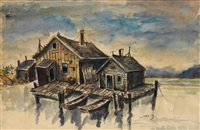 untitled (two cabins on the water) by dox thrash