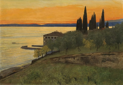 autumn evening at lago di garda san vigilio by curt agthe