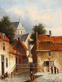 the canal behind the church in leiden, the netherlands by pieter gerardus vertin
