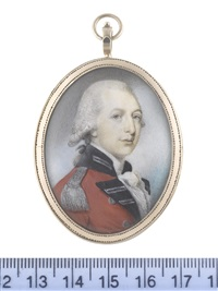 an officer, wearing red coat with navy and silver facings, silver epaulette, white frilled chemise and stock, his powdered wig worn en queue and tied with a black ribbon bow by philip jean