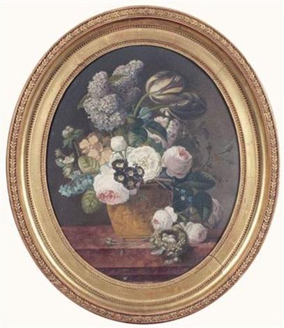 bouquet de fleurs dans un vase posé sur un entablement près dun nid doiseau by jan frans van dael