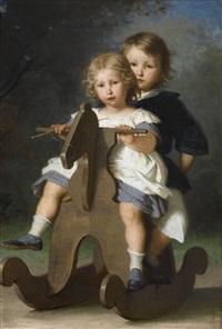 théophile und berthold van muyden auf einem schaukelpferd by alfred van (jacques) muyden