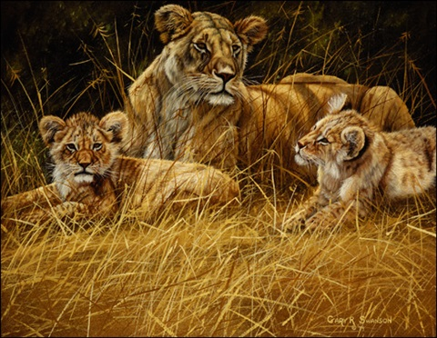 lioness and cubs by gary r swanson