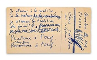 handwritten note about egg sculptures written by broodthaers in french by marcel broodthaers