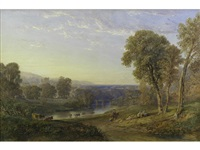 an extensive landscape with a castle and bridge in the distance by copley fielding