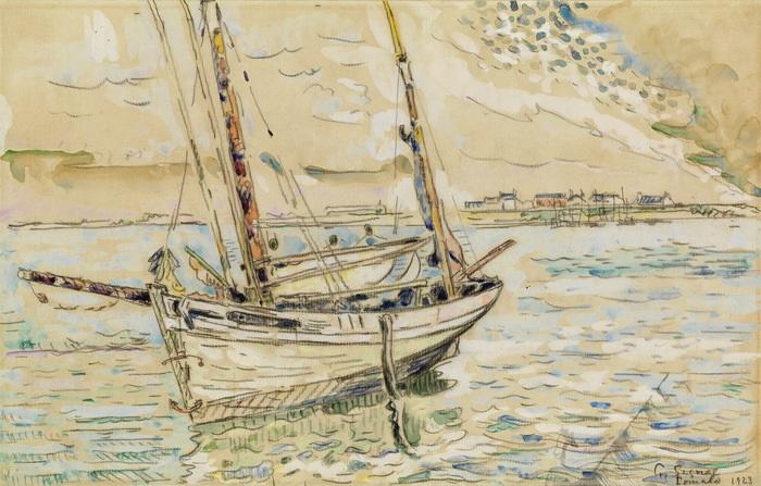 voilier à lancre by paul signac