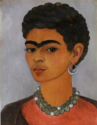 self-portrait with curly hair by frida kahlo