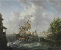 seascape with american, british and dutch frigates by johann caspar huber