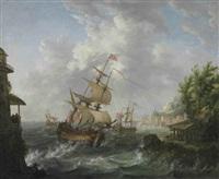 seascape with american, british and dutch frigates by johann caspar huber