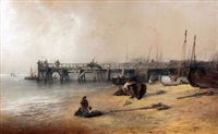 figures on yarmouth beach with jetty by edward robert smythe