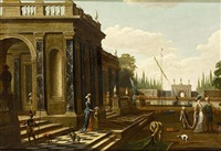 elegant figures walking on and near a classical terrace by jacobus balthasar peeters