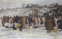 bathing after the blessing of the waters on the sixth of january, feast of the epiphany by nikolai karlovich grandkovsky