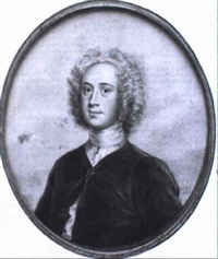 portrait of a gentleman in bottoned jacket, white stock and wig by john smart the younger