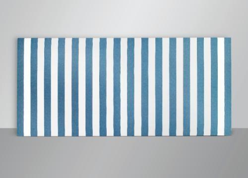 peinture acrylique blanche sur tissu rayé blanc et bleu by daniel buren