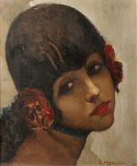 jeune femme à la rose by ernest marneffe