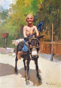 little boy riding horse by romualdo locatelli