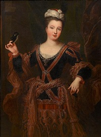 portrait of a lady, three-quarter-length, in a dark blue dress with gold brocade decoration, holding a mask and standing before a curtain by jean-baptiste santerre