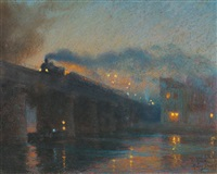 train sur un pont la nuit by henry bouvet