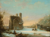 romantic winter landscape by marinus adrianus koekkoek the elder